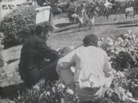 Elvis Presley at his Mother's Grave