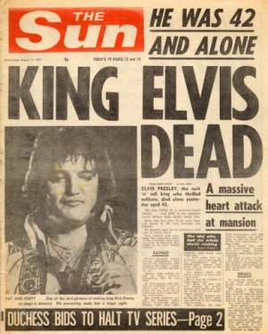 Elvis Dies at Graceland 1977 - Newspaper Headline