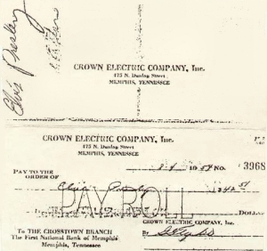 Pay Check - Crown Electric Pay Roll Check - Elvis First Job