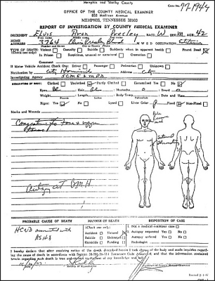 Elvis Autopsy Report Details Of Elvis Death
