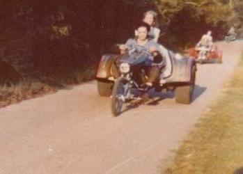 Elvis with Linda Thompson- Three wheel motorbike